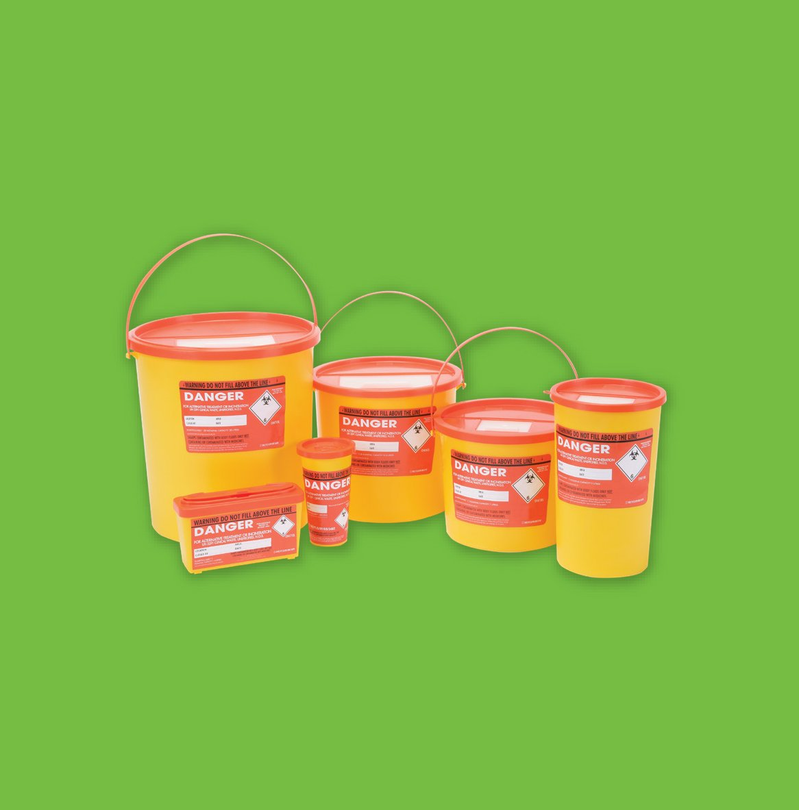 orange bin for waste contaminated with body fluids or non-medical