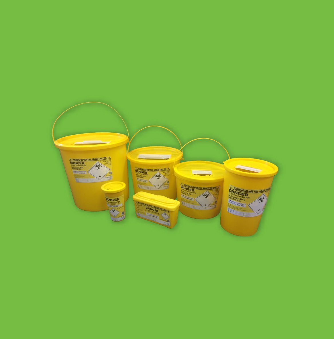 pharmi sharps disposal bin with yellow closed lid