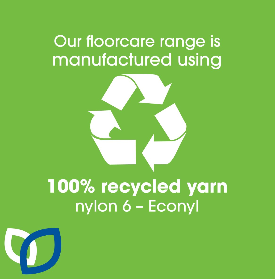 Our range of mats, commercial and industrial are 100 percent recycled yarn